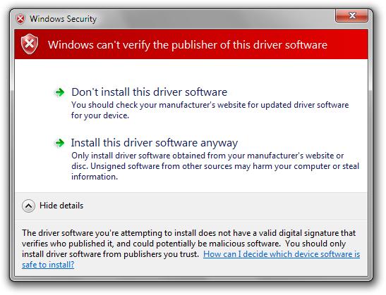 windows+driver+installtion+time+warning