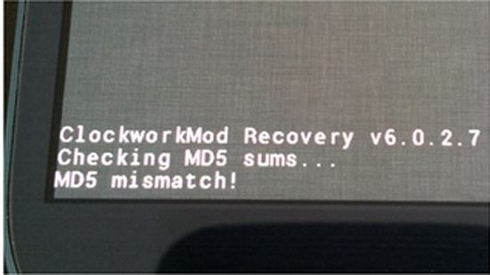 Fix md5 Checksum Mismatch Error In ClockworkMod Recovery