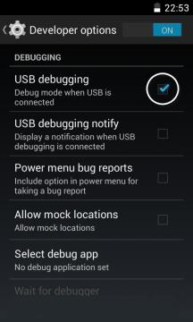 USB Debugging Mode Canvas HD