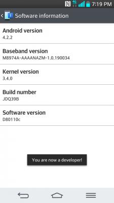 LG G2 Developer Options